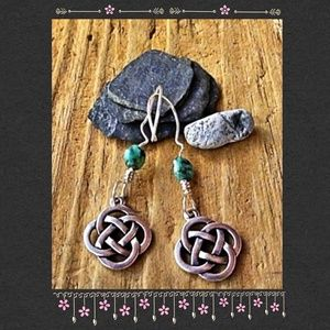 Silver Celtic Knot and African Turquoise Earrings